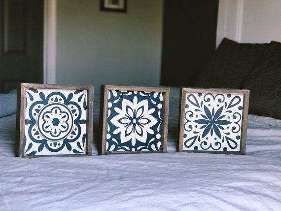3 Piece Tile Set Farmhouse Wood Wall Art Framed Tiles