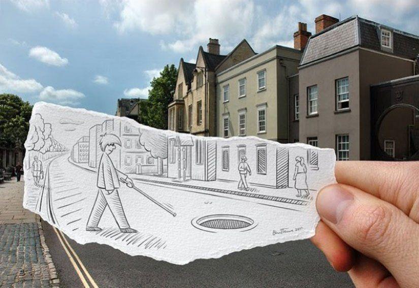 Ben Heine.Recriar a realidade com um pedaço de papel e um lápis. - TendX