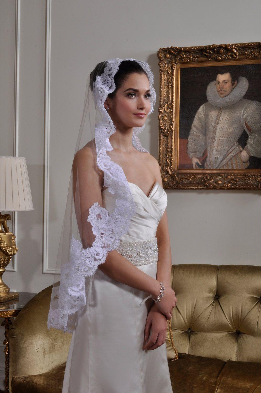 NEW- Wedding Veil - Fingertip French Bridal Alencon Lace Mantilla Veil - White, Diamond White, Light Ivory, Ivory - made to order. $175.00, via Etsy.