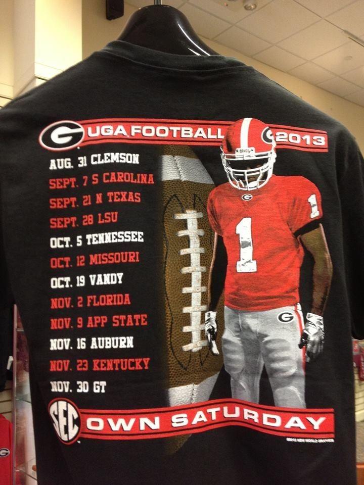 UGA schedule shirts at Tailgater's Alley Lsu, Uga