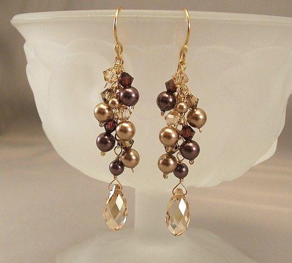 Rich Burgundy  and Golden Bronze Blend Cascade Earrings, Swarovski Pearls, Bridesmaid Earrings, 14K Gold Filled