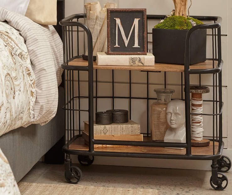 Industrial Wood & Metal Trolley Bar Cart - Big Lots #industrialfarmhouselivingroom