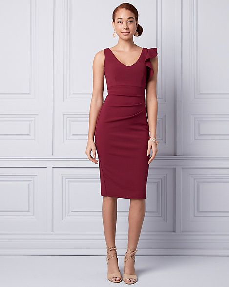 ae53ee4e16 Knit Crêpe V-Neck Ruffle Dress - A ruffle detail adds a stylish touch to  the V-neckline of a knit crêpe dress with flattering pleats.