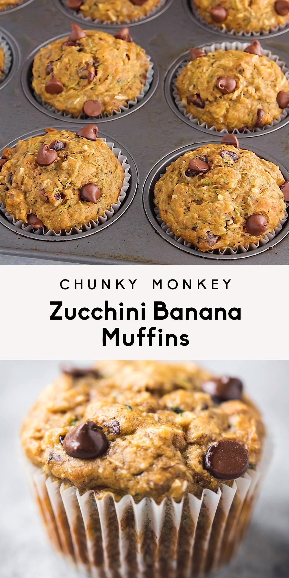 Chunky Monkey Zucchini Bananen-Muffins