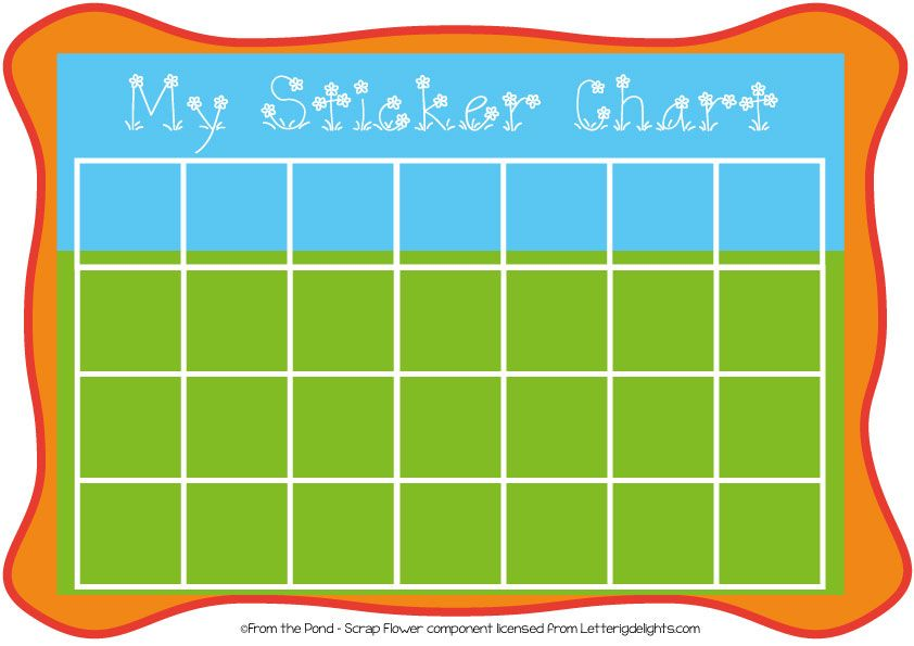 photo relating to Free Printable Sticker Charts named Free of charge printable sticker chart