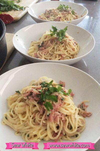 Sew White Lake District Dairy Quark garlic and herb spaghetti carbonara