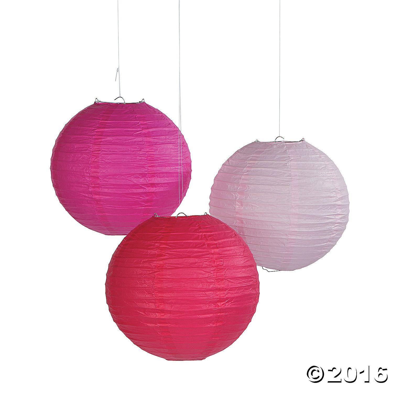 Pink Tones Hanging Paper Lanterns | Hanging paper lanterns and Paper ...