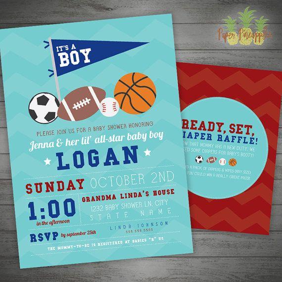 AllStar Baby Shower Invitation Sports Baby Shower Football Baby