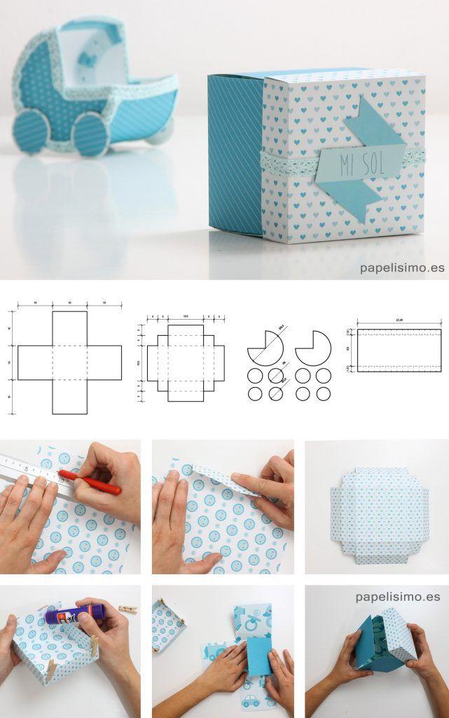 Caja de regalo baby shower con plantilla y medidas ideas - Como hacer cajas de cartulina ...