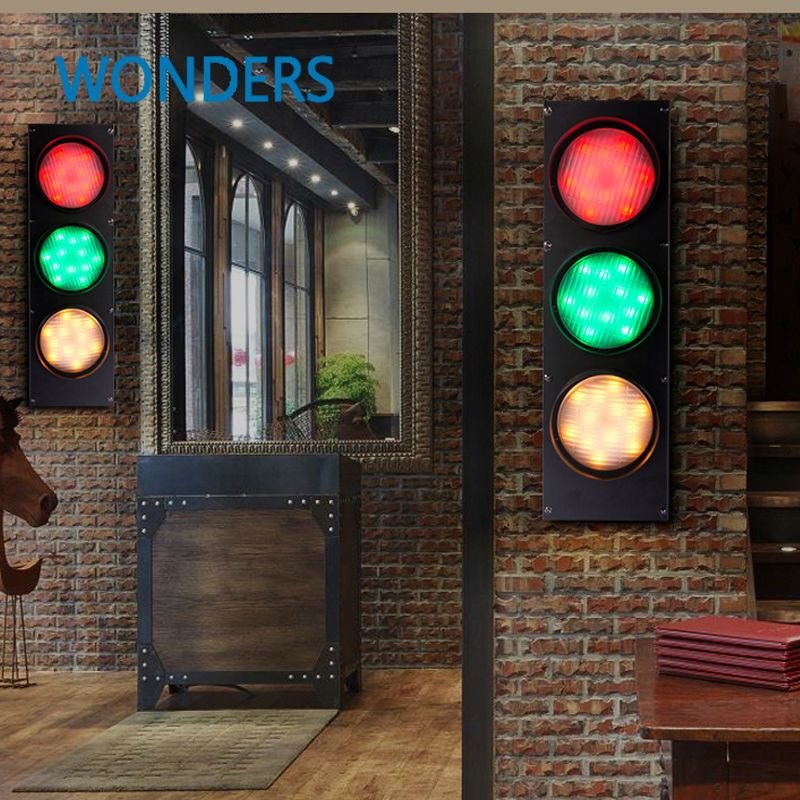 Creative 3 Color Stage Light Loft Retro Cafe Iron Wall Lamp Wall Mounted Bar Restaurant Decoration Traffic Light Wall Mounted Bar Iron Wall Lamps Disco Lights