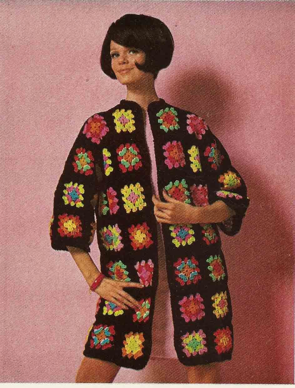 1960s crochet Afghan coat.