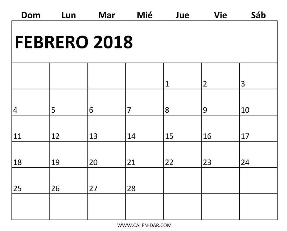 Plantilla Mensual Calendario 2018 Febrero Para Imprimir