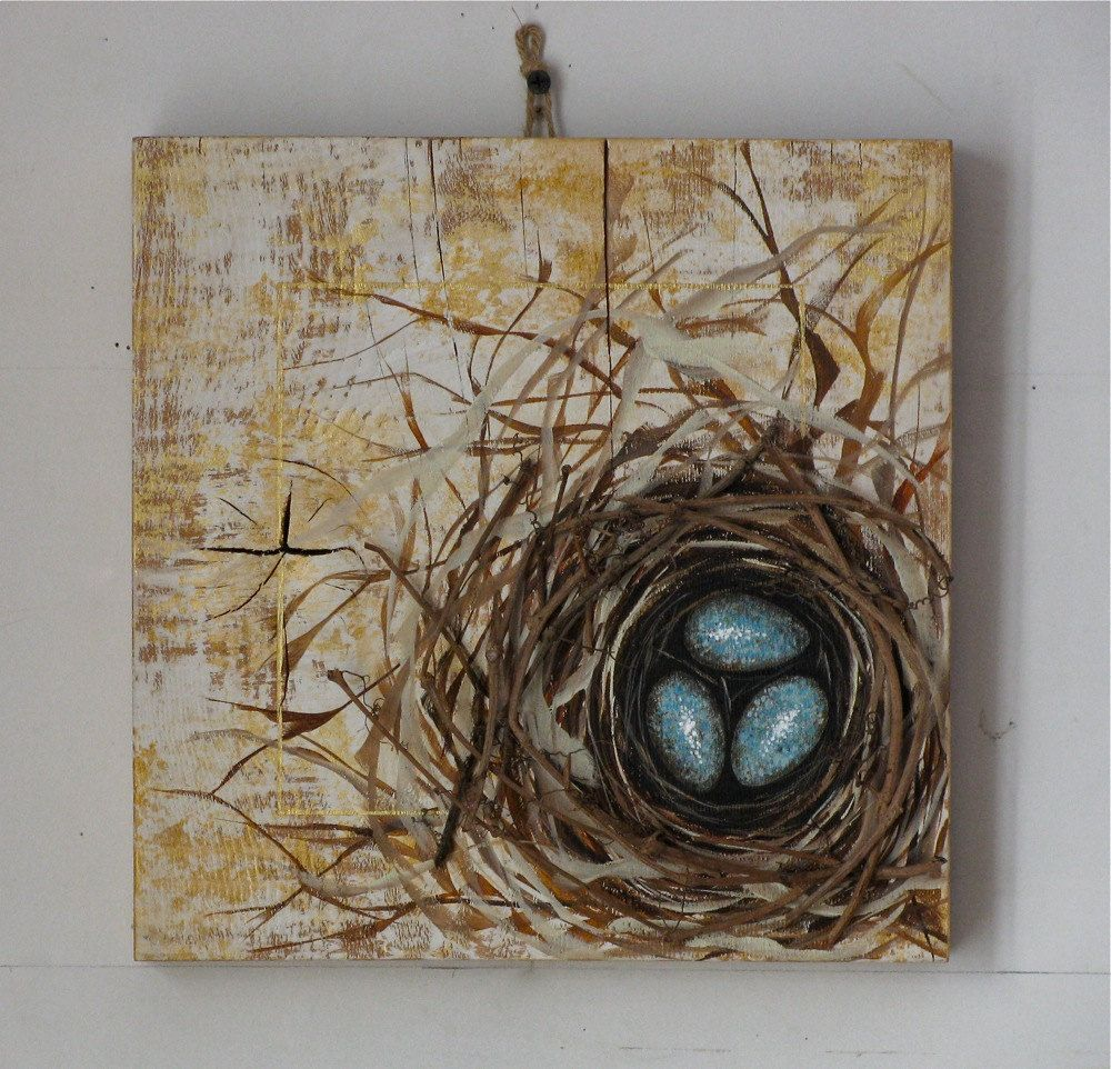 Egg Nest Original Painting On Reclaimed By Johnandgigiathome