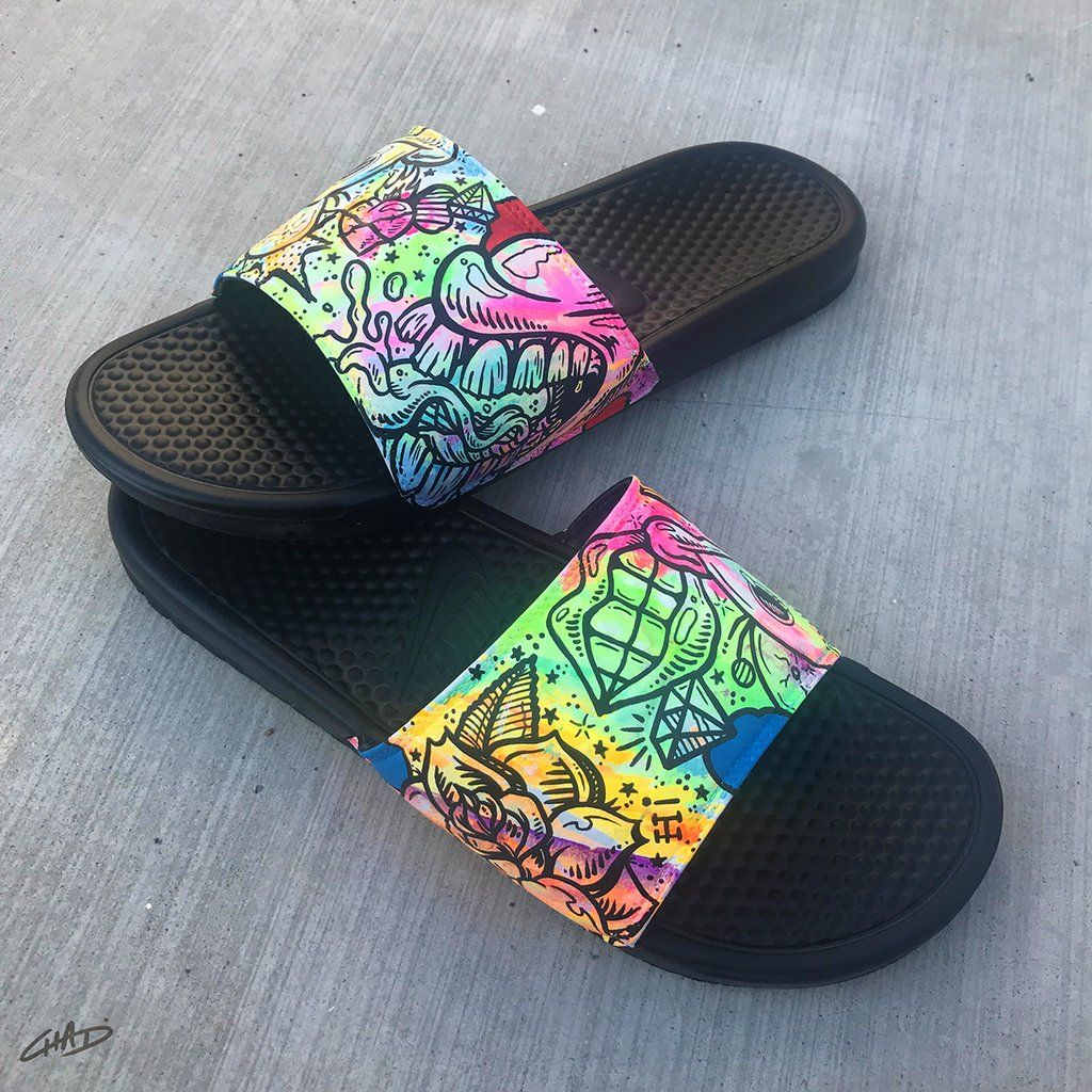490f7b6fa Battery Acid - Hand Painted Nike Slides aka Sandals