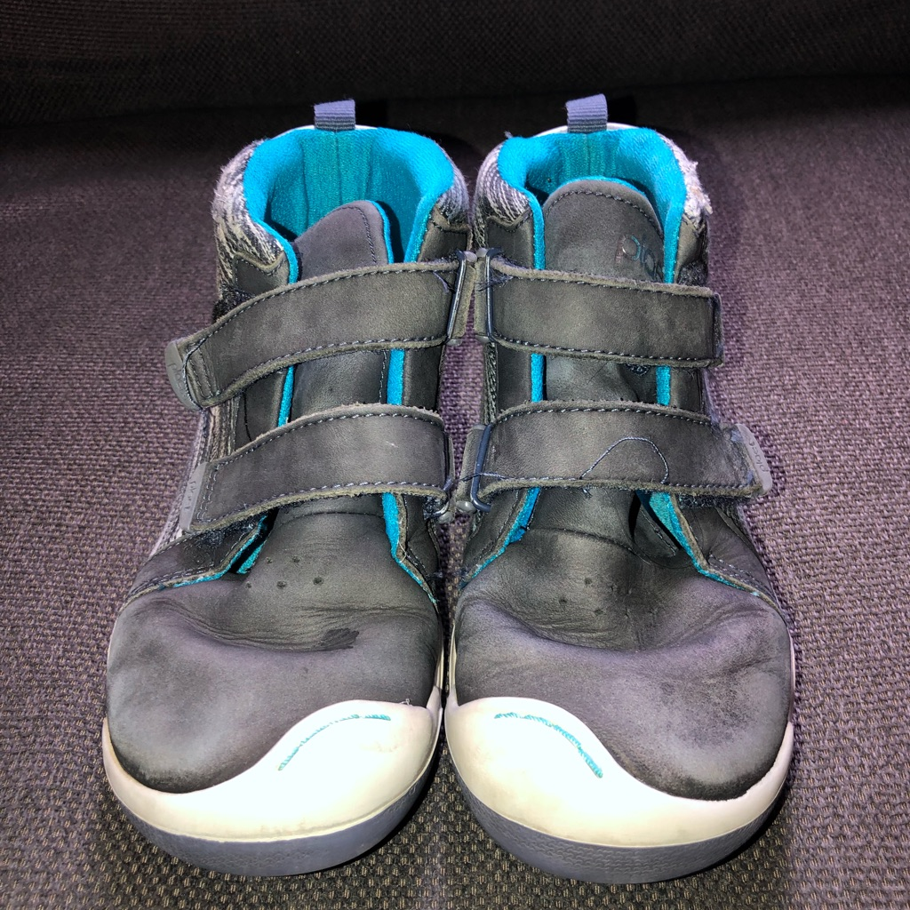 Boys Plae Shoes, blue high tops, size 1