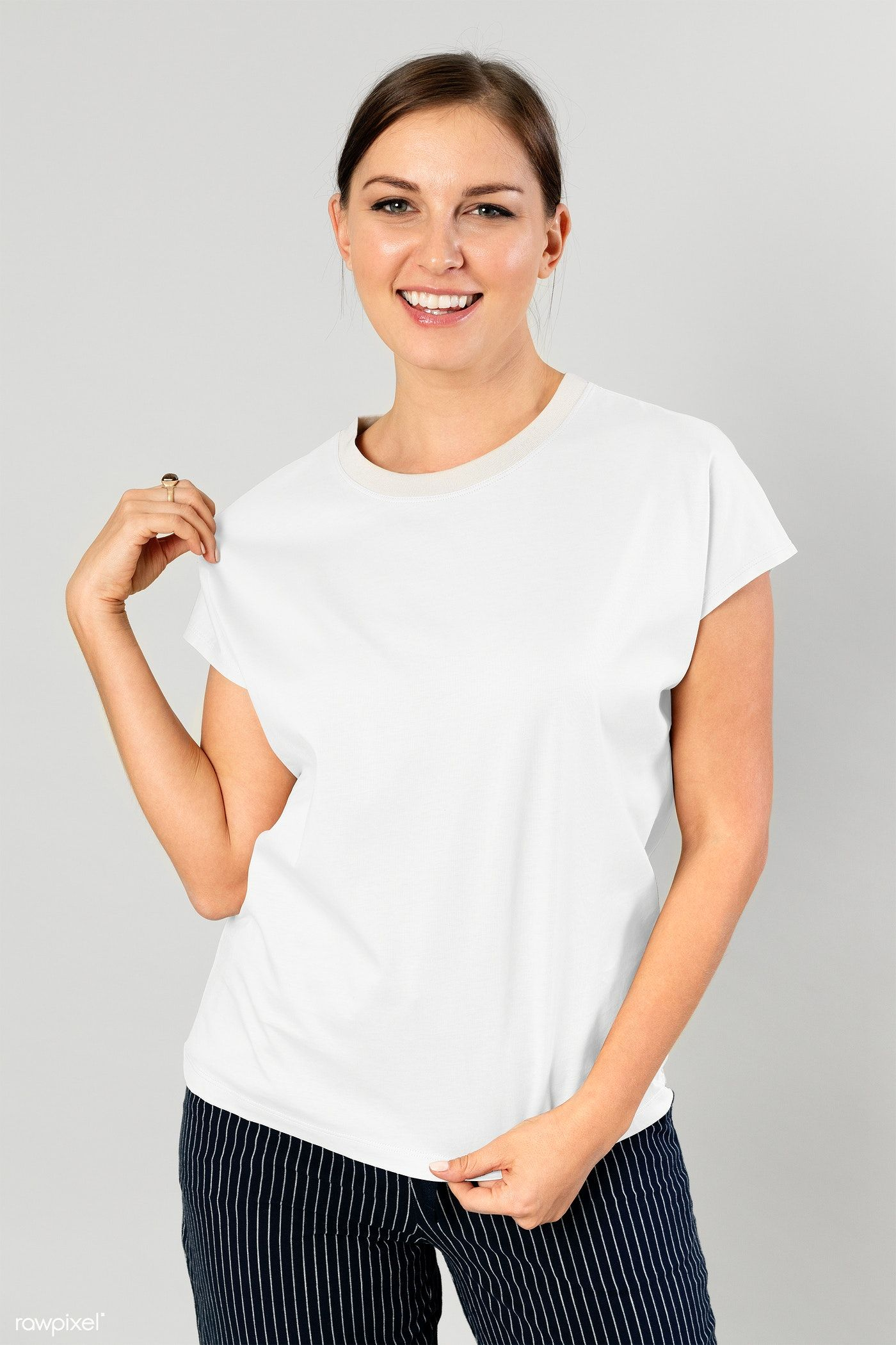 Download Download Premium Png Of Cheerful Woman Wearing T Shirt Transparent Png