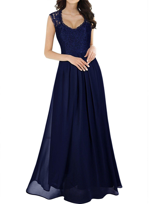 fb6319f9e7df MIUSOL Estete Donna Vestito Pizzo Lunghe Cerimonia Lungo Abito  Amazon.it   Abbigliamento