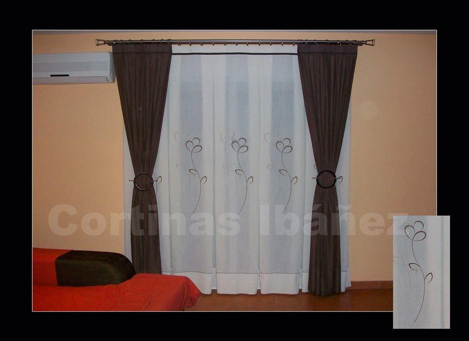 Cortinas en visillos de paneles bordados y confeccionados en ...