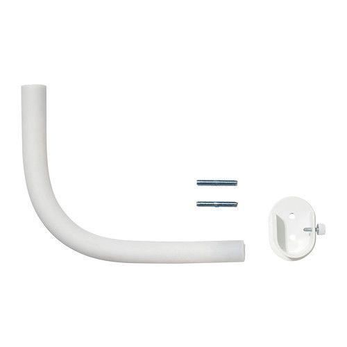 IKEA - RÄCKA, Kulmaosa, valkoinen, , Joustavuutensa ansiosta mainio ratkaisu nurkan tai kulman yli kulkevan tai erkkeri-ikkunaan sijoitettavan verhokokonaisuuden rakentamiseen.Mahdollista kiinnittää myös suoran verhotangon päihin, jolloin verho voidaan vetää aivan kiinni seinään. Mukana kiinnikkeet.
