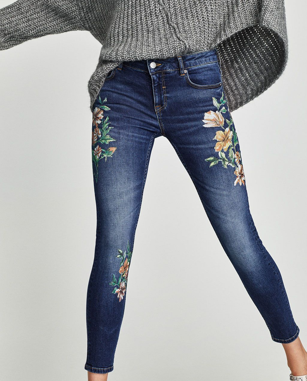 mid rise jeans with floral embroidery mid waist jeans. Black Bedroom Furniture Sets. Home Design Ideas