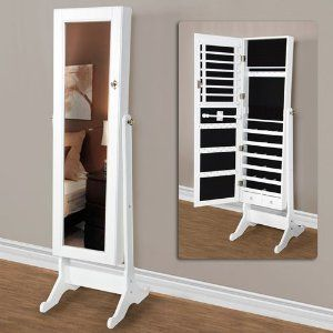 Captivating Amazon.com   White Mirrored Jewelry Cabinet Armoire W Stand Mirror Rings,  Necklaces,