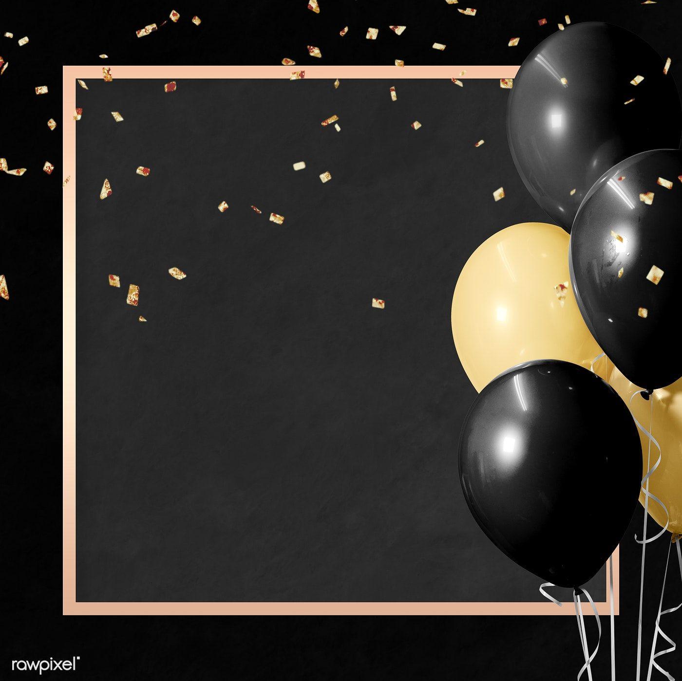 Download Premium Illustration Of Golden Square Balloons Frame Design Frame Design Happy Birthday Frame Birthday Background Images