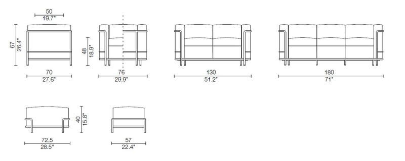 lc2 le corbusier jeanneret perriand cassina in. Black Bedroom Furniture Sets. Home Design Ideas