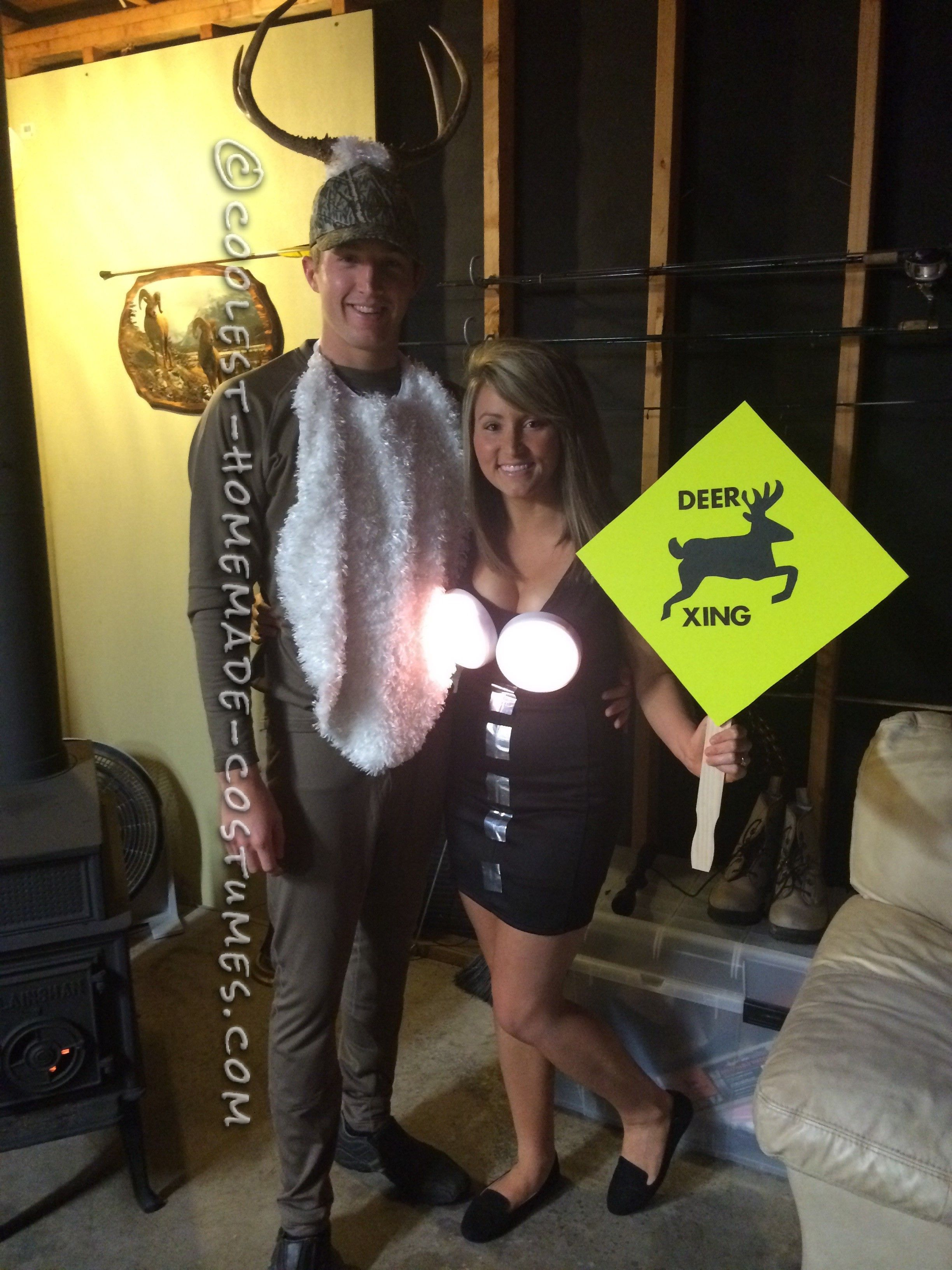 Coolest Homemade Deer in Headlights Couple Costume... Coolest Halloween Costume Contest  sc 1 st  Pinterest & Coolest Homemade Deer in Headlights Couple Costume | Pinterest ...