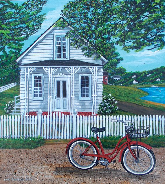 Print From Original Painting Door County Wisconsin Cottage With Old Red Bike