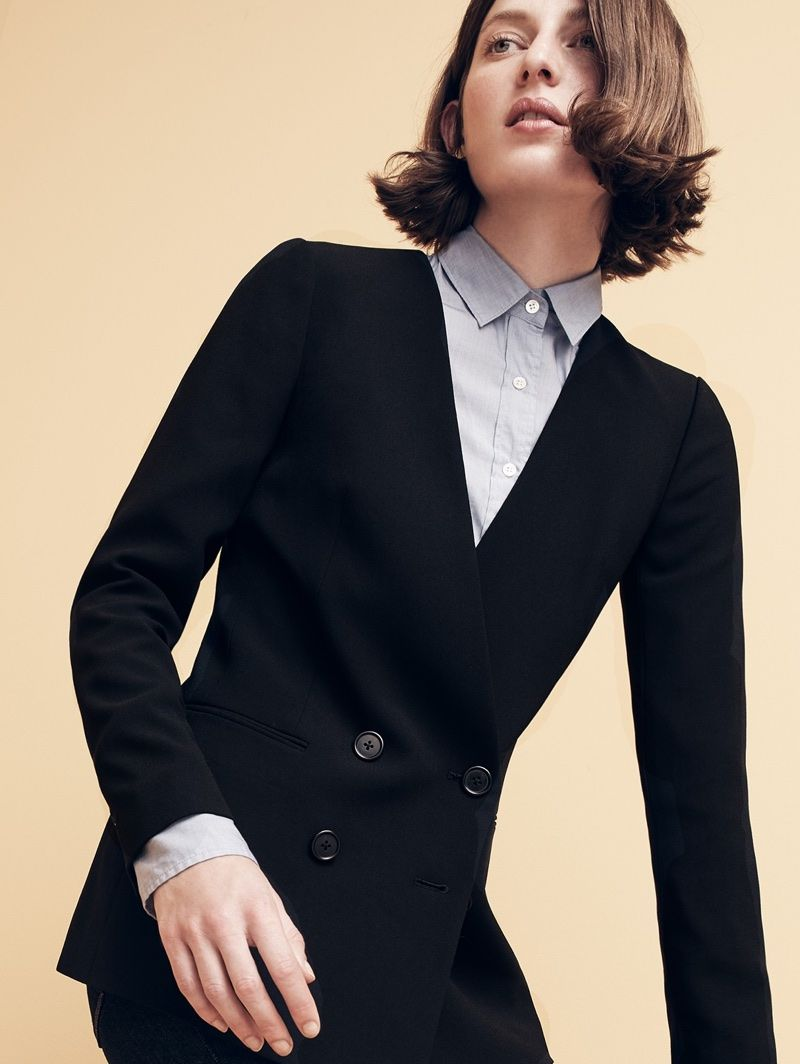 J. Crew French Girl Jacket in 365 Crepe, Everyday Shirt in End-on