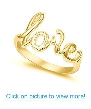 14K Yellow Gold Plated Love Ring #14K #Yellow #Gold #Plated #Love #Ring