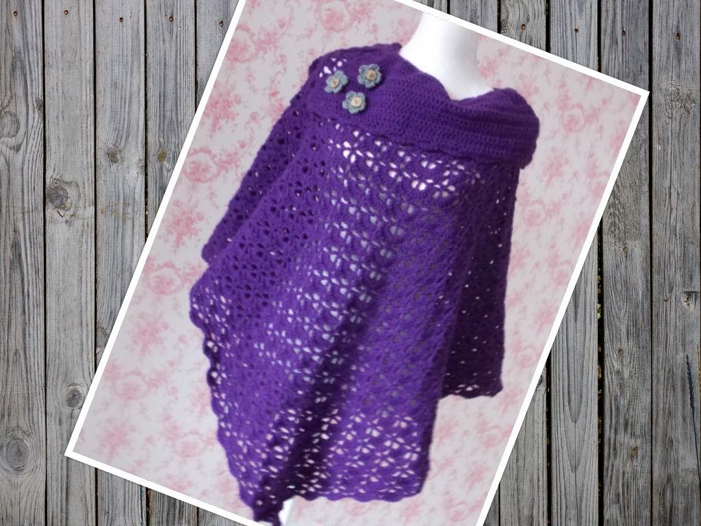 Soutbay poncho - deep purple