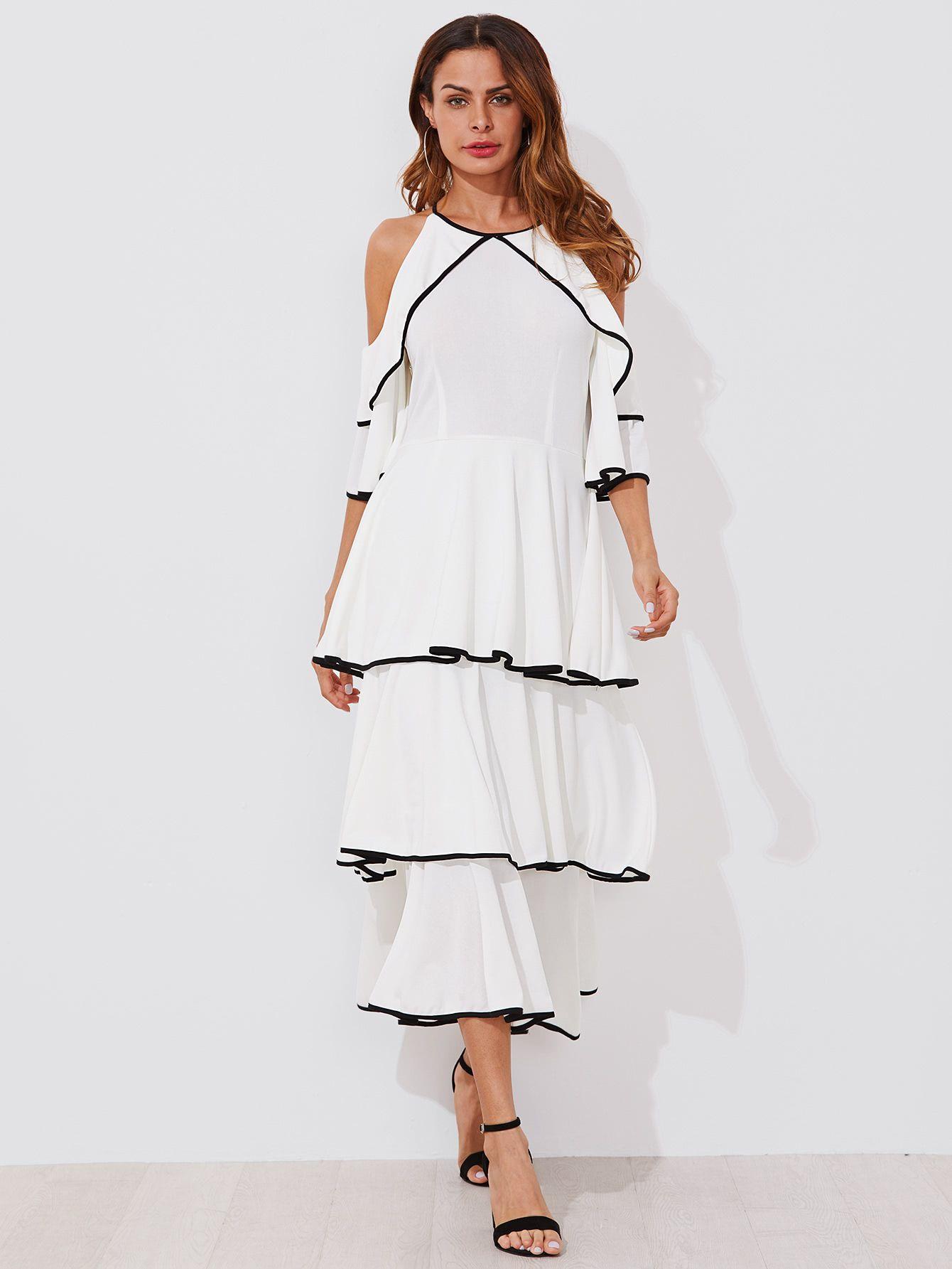 26a9819c4d84 Contrast Binding Open Shoulder Tiered Flounce Dress -SheIn(Sheinside ...