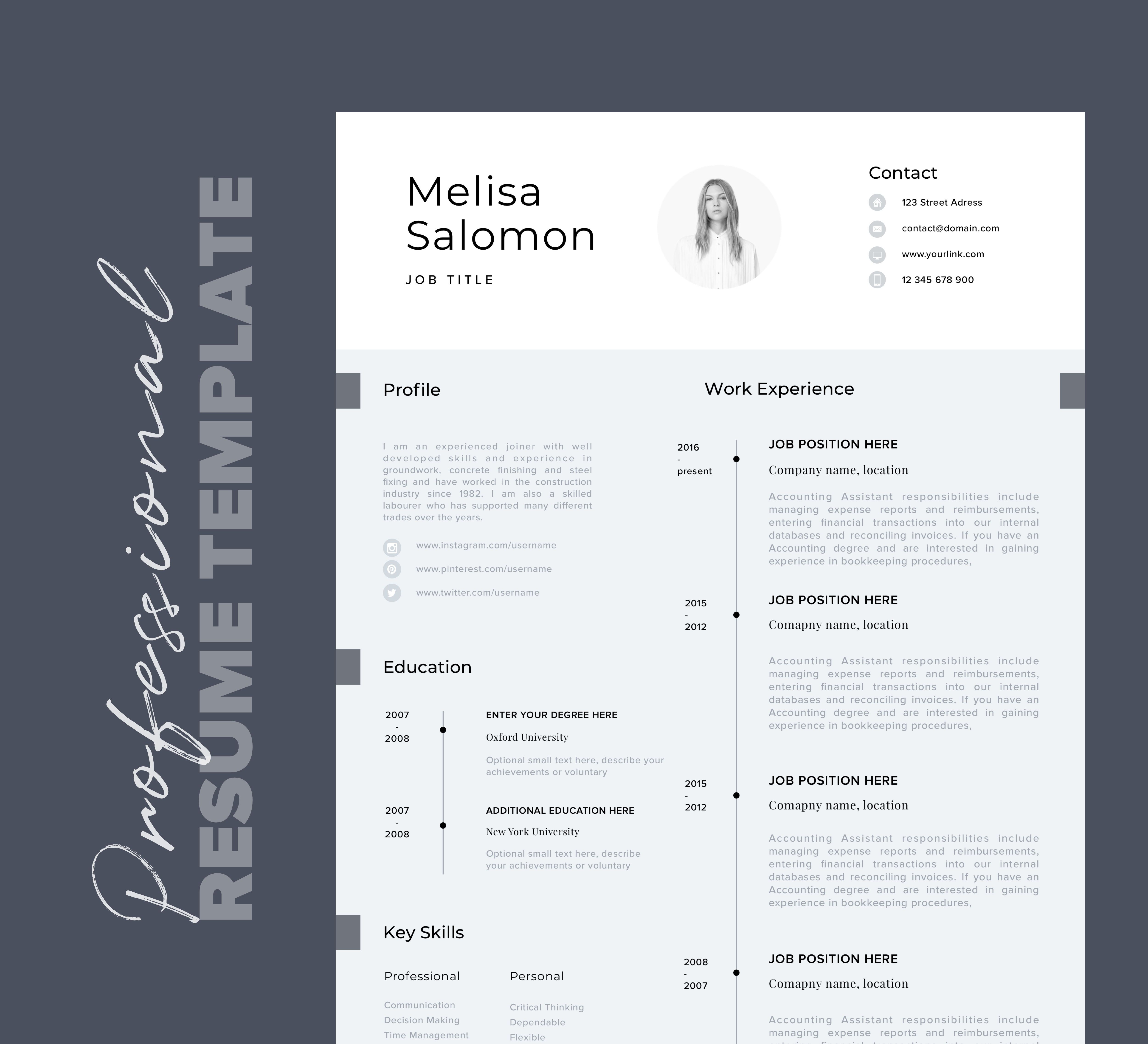 Cv Template Professional Resume Template With Photo Word Etsy Resume Template Professional Resume Template Professional Resume