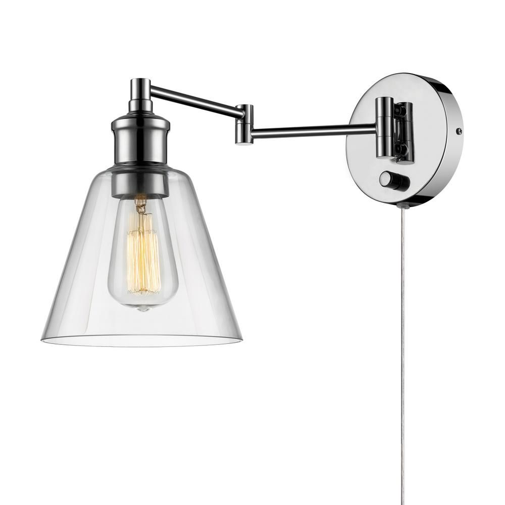 Globe Electric Leclair 1 Light Chrome Swing Arm Wall Sconce 65704 The Home Depot Sconces Industrial Wall Sconce Wall Sconces