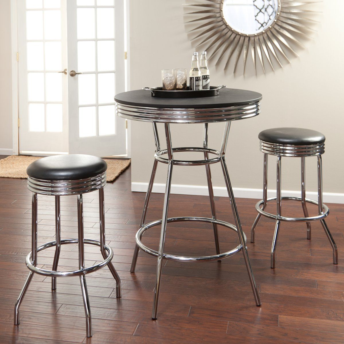 Retro 3 Piece Chrome Bar Stools And Table Set Great Tables For Kitchen