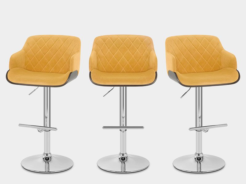 Surprising Dakota Bar Stool Mustard Velvet In 2019 Bar Stools Velvet Theyellowbook Wood Chair Design Ideas Theyellowbookinfo