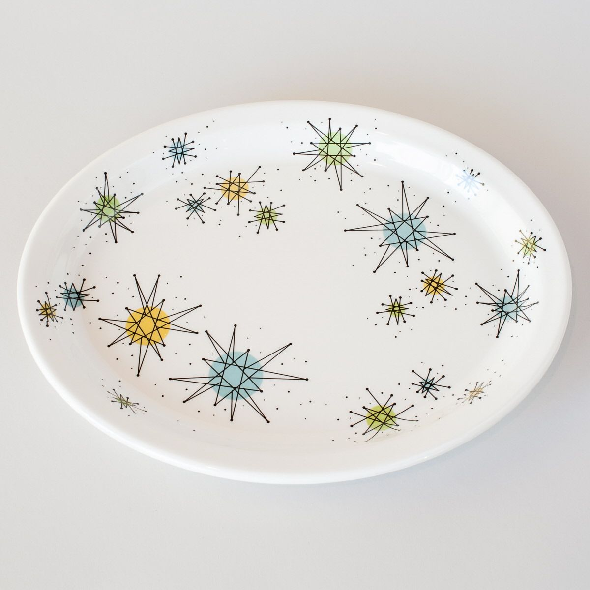 The Atomic Starburst Oval Dinner Plate adds 50s style to your retro kitchen. This reproduction Franciscan-style Sputnik plate is made of melamine. 11.5 & The Atomic Starburst Oval Dinner Plate adds 50s style to your retro ...