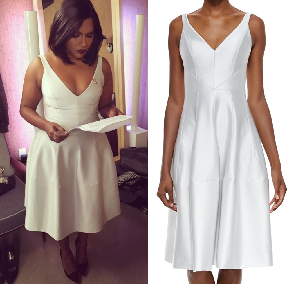 Mindy Kaling In Winter White For Late Night With Seth Meyers J Mendel Jersey Cocktail Dress With Godet Mindy Project Style Bar Mitzvah Dresses Girlie Outfits