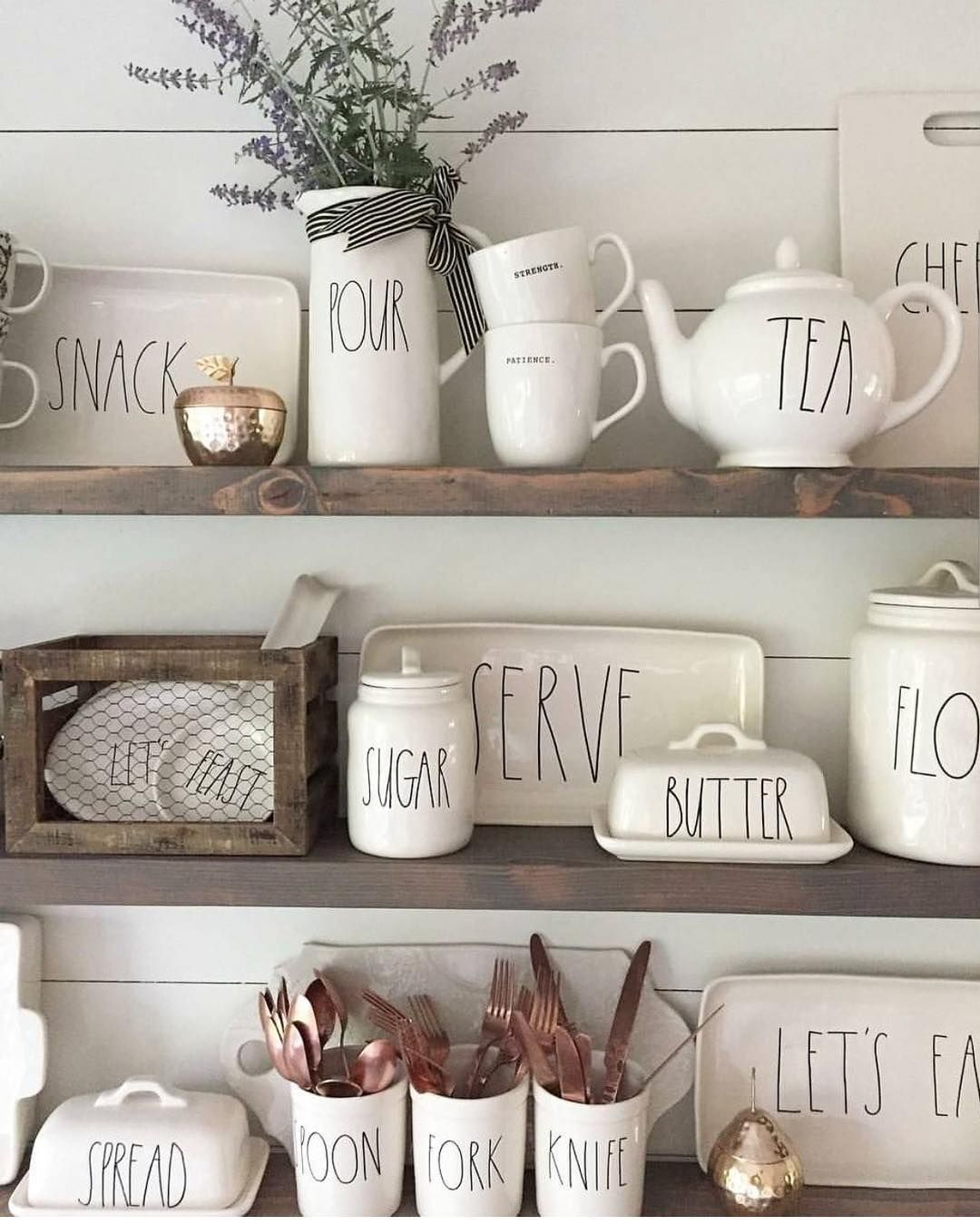 Rae Dunn Displayed On Rustic Shelves Kitchen