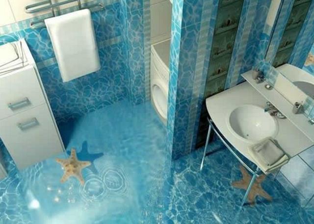 Ces salles de bains sont à couper le souffle... Elles ont des sols en 3D ! Oui, c'est possible...