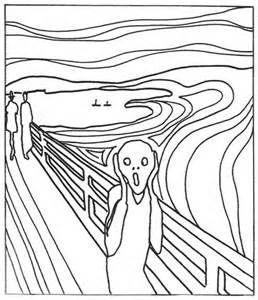 Munch Scream Coloring Page Sketch Template Scream Art Line Art