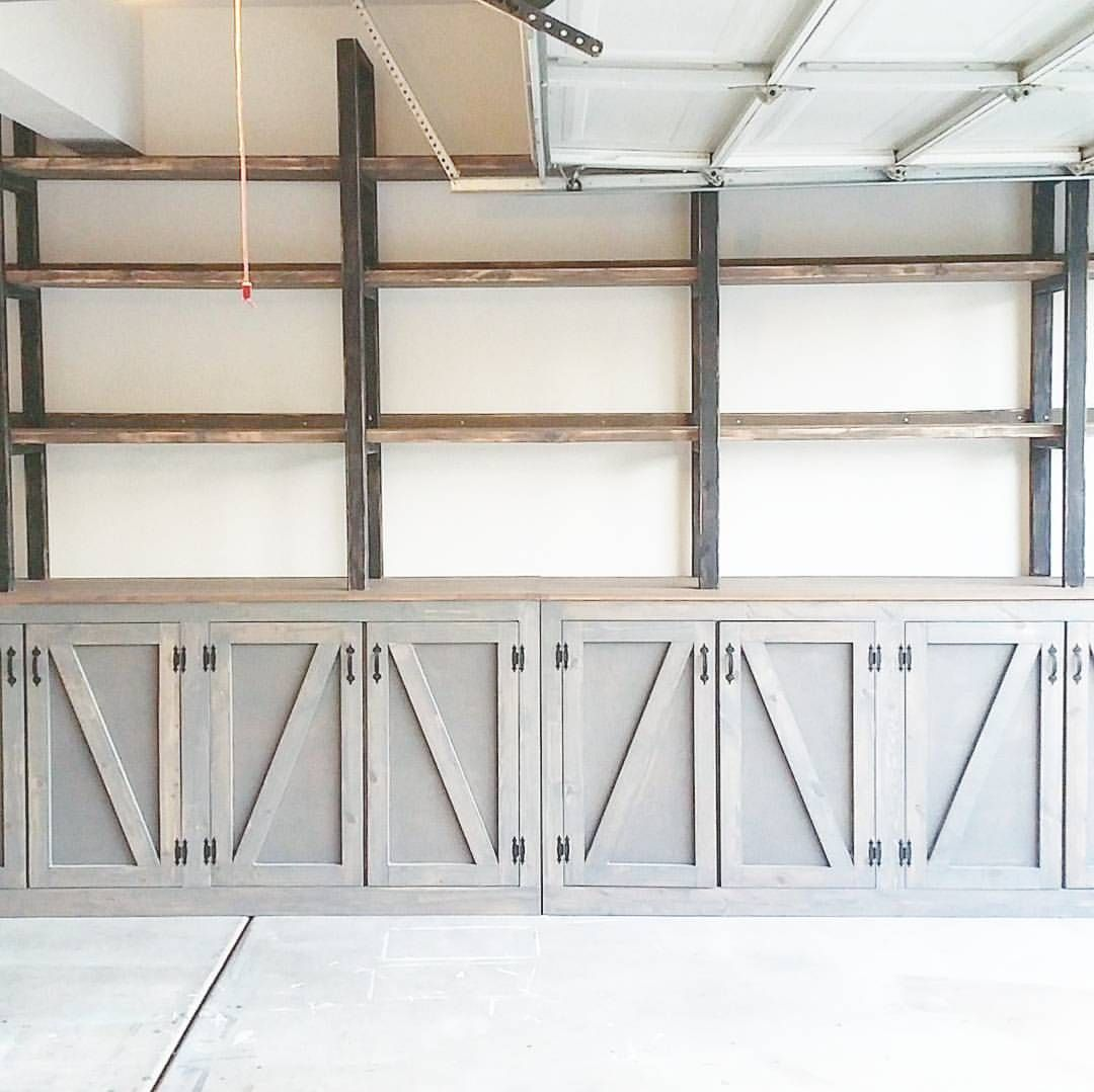 We Finished Off Our Garage Walls And Added Some Shelves Over Our Cabinets So Excited About This Space Now S Garage Decor Diy Garage Storage Garage Shelving