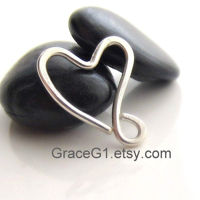 cartilage earrings, silver heart rook earrings, silver ...