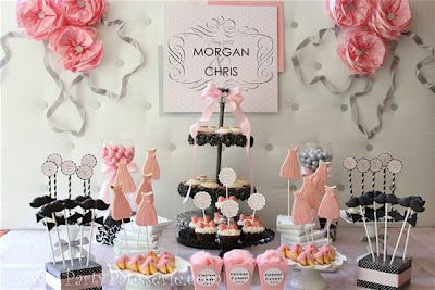 Pink And Black Wedding Theme Jack Jill Bridal Shower Ideas