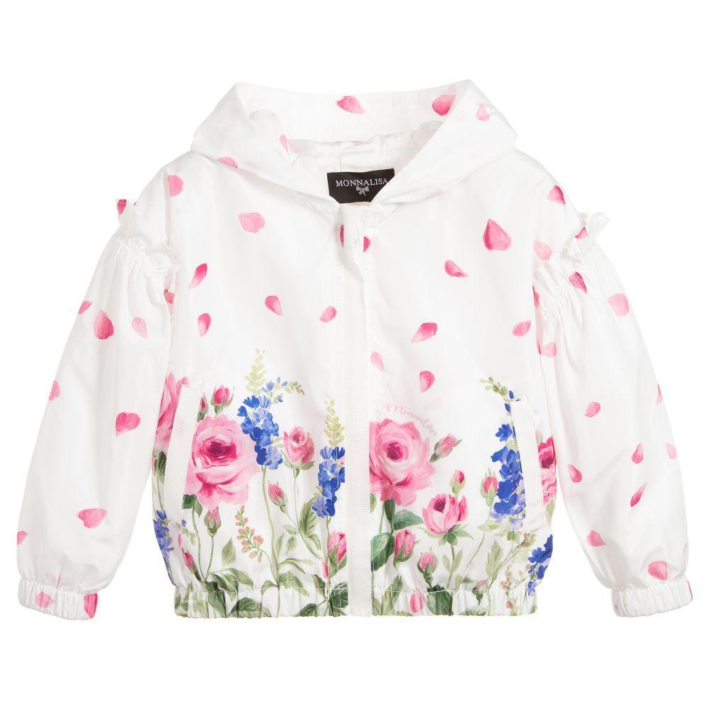 4376717d8709 Girls ivory hooded windbreaker jacket by Monnalisa. It is made in ...