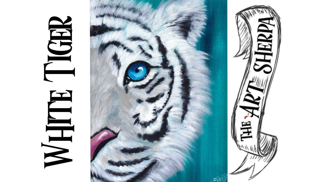 White tiger easy acrylic painting tutorial for beginners ...