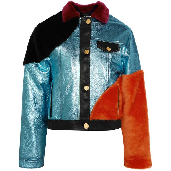 House of Holland Shearling-paneled metallic textured-leather bomber... (£1,080) ❤ liked on Polyvore featuring outerwear, jackets, light blue, vintage bomber jacket, light blue bomber jacket, fuzzy jacket, metallic jackets and shearling jacket