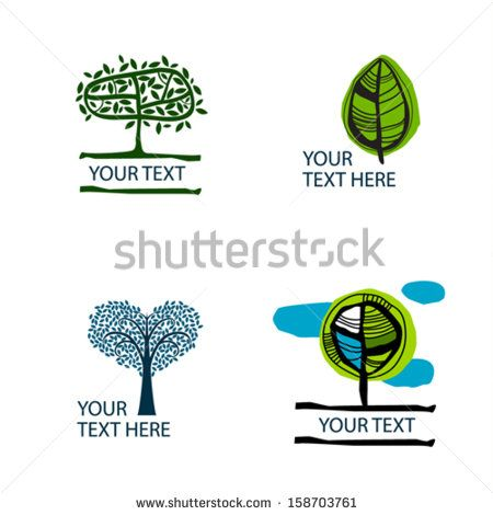 Set of the vector stylized trees