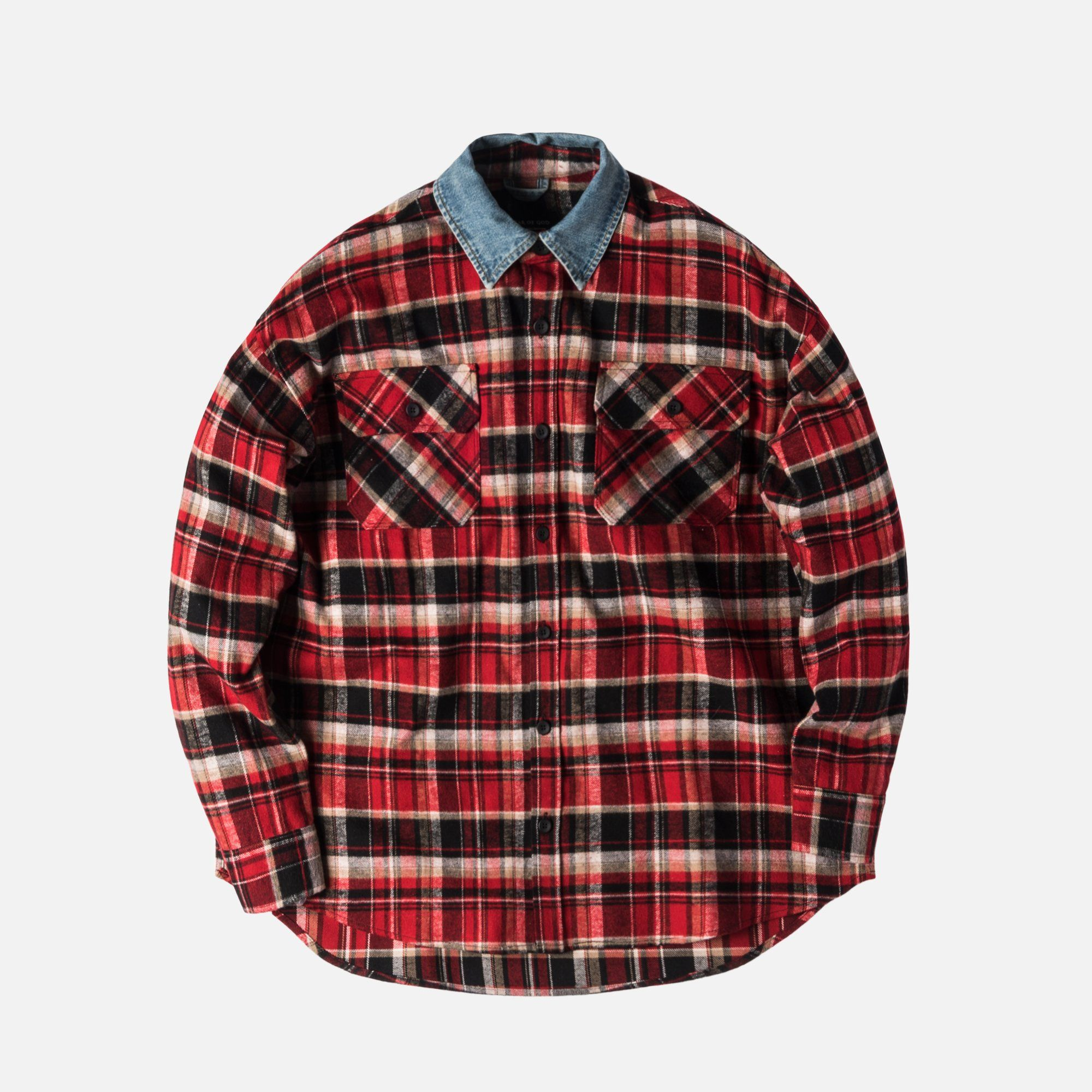 196ed6c084 Fear of God 5th Collection Denim Collared Flannel - Red   Plaid ...